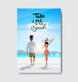 hello summer man woman couple holding hands vector image vector image