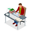 isometric young people and student concept a vector image