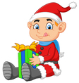 little santa holding gift box vector image vector image