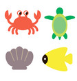 marine creatures color simple vector image