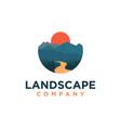 mountain and river landscape adventure logo vector image vector image