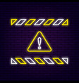 neon warning sign vector image vector image