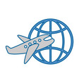 planet sphere with airplane vector image