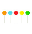 round multicolored lollipops on white background vector image