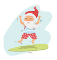 santa claus jumping on surfboard with gifts vector image