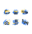 set icons with multimedia folder camera cinema vector image vector image