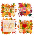 set of realistic autumn sale announcement in frame vector image vector image
