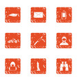 technical reality icons set grunge style vector image