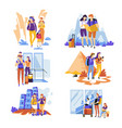 tourism and traveling couples and families vector image vector image