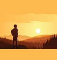 trekker contemplating beautiful forest and vector image