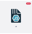 two color js icon from programming concept vector image vector image