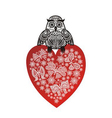 Valentines day card owl and red heart vector image vector image