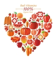 Vegetarian food icon set with organic fruits and vector image vector image