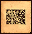 vintage initial letter w with baroque decoration vector image