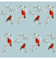 Winter Birds Retro Background - Seamless Pattern vector image vector image