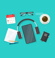 workplace desk with learning stuff and mobile vector image vector image