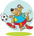 Cartoon Dog Playing Soccer vector image