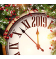 2019 new year background with clock and fir vector image vector image