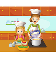 A mother and daughter cooking vector image