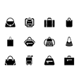 assortment black baggage icons vector image vector image