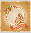 birthday card with cake hearts and ribbon vector image vector image