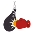 boxing gloves equipment with punch bag icon vector image