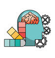 brain with profile and icons vector image