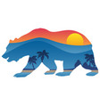 california bear with mountain shoreline overlay vector image