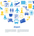 cartoon silhouette airport concept card vector image vector image