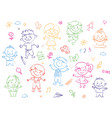 cheerful children standing together drawings vector image vector image