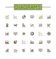Colored Diagrams Line Icons vector image vector image