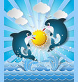 dolphins in sea on the sunlight vector image vector image