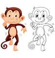doodle animal character for monkey dancing