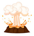 erupting liquid drop splashing out burning volcano vector image vector image