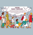 family travel group people and clouds vector image