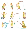 Fisherman In Different Funny Situations Set Of vector image vector image