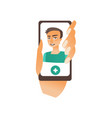 flat male doctor in smartphone avatar vector image vector image