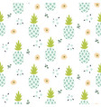 floral pineapple light blue seamless print vector image