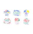flower shop logo design set florist salon vector image vector image