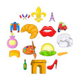 france icons set cartoon style vector image vector image