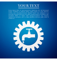 Gearwheel with tap sign as plumbing work logo flat vector image vector image