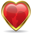 golden heart with reflection vector image vector image
