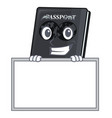 grinning with board black passport in a cartoon vector image vector image
