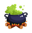Halloween caldron cauldron with boiling green