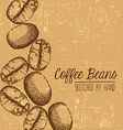 Hand drawn coffee bean design with space for text vector image vector image