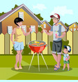 happy family barbecue vector image