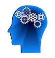 human head with gears head thinkingidea concept vector image vector image