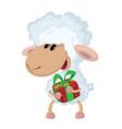 lamb and gift vector image vector image