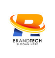 letter r logo design template digital technology vector image