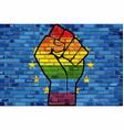lgbt protest fist on a europe brick wall flag vector image vector image